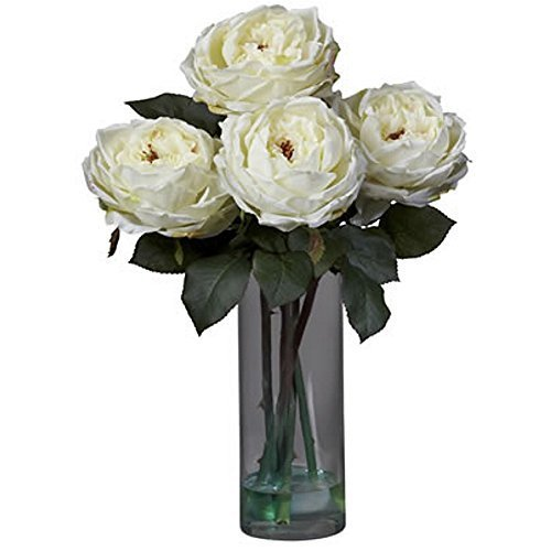 Fancy White Roses With Cylinder Vase Silk Flower Arrangement by NNAT by NNAT