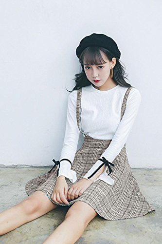 6fc2a7aa1923 Amazon.com : Fall fashion suit female Korean version sweet fashion plaid  skirt dress strap dress two-piece long-sleeved T-shirt for women girl :  Beauty