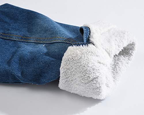 Bleu Longues Blouson Chaud Foncé Hommes Jacket Jean Manches Veste En Denim Épais Hiver qWaAPO4