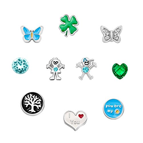 Q&Locket 10Pcs Lucky Love Butterfly Floating Charms For Glass Living Memory Locket Necklace Bracelet
