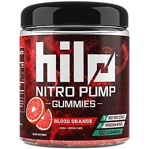 Hilo Nitro Pump Gummies - Nitric Oxide Booster with Potassium Nitrate and Beet Root Extract - Blood Orange Flavor, 60 Count by Hilo Nutrition