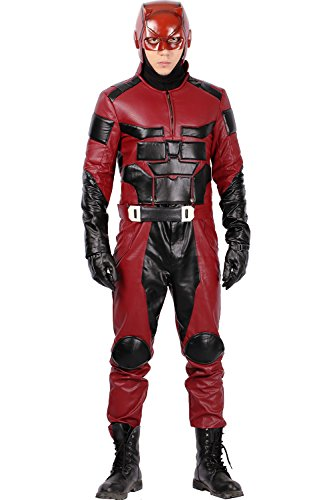 Halloween Kostüm Held Fancy Kompletter Anzug Cosplay Herren Schwarz mit Rot PU Outfit Kleidung
