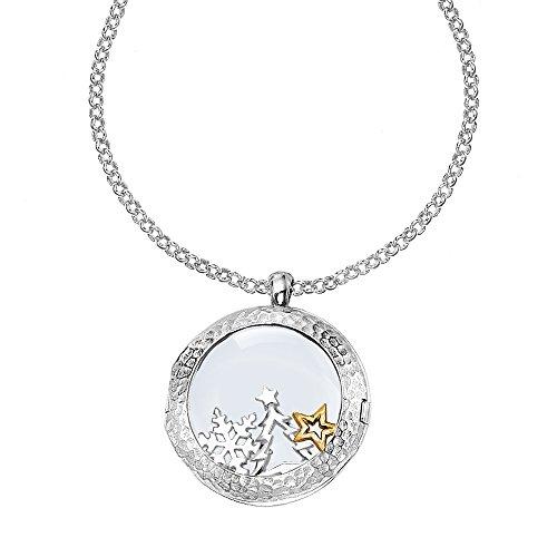 Dower & Hall Cherish en argent sterling 24mm composable médaillon sur 46cm chaîne Belcher avec Trésors de Noël