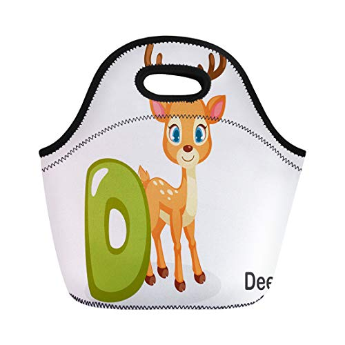 Semtomn Neoprene Lunch Tote Bag Colorful Abc D for Deer Cute Alphabet Animal Beautiful Reusable Cooler Bags Insulated Thermal Picnic Handbag for Travel,School,Outdoors,Work