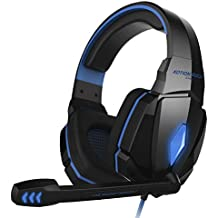 Gaming Headset for PC PS4 Xbox One, BOKIN Overhead Headphone with Microphone, Noise Canceling, Bass Surround, Led Light for Laptop Mac Nintendo Switch Phone Games and Music