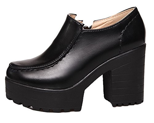 Nere Delle Tacchi Solidi Pompe Weipoot Donne scarpe Pu Punta Cerniera Chiusa Rotonda Alti ZZ7BnxwT