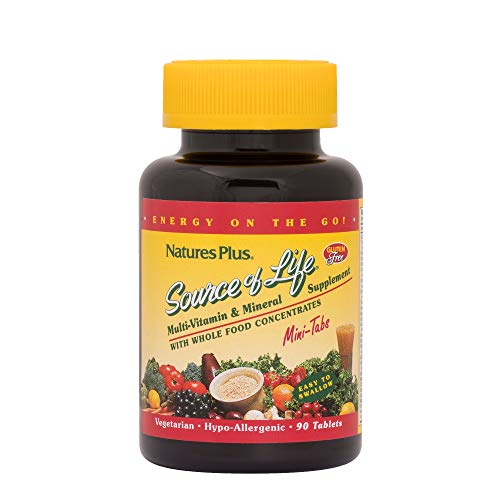 NaturesPlus Source of Life Mini-Tabs - 90 Vegetarian Mini Tablets - Whole Foods Multivitamin Supplement with Chelated Minerals, Energy Booster - Gluten-Free - 15 Servings (Tabs Life Mini)