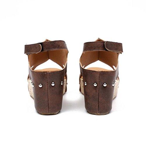 hunpta Women Summer Round Toe Breathable Rivet Beach Sandals Boho Casual Wedges Shoes Brown l0E2V