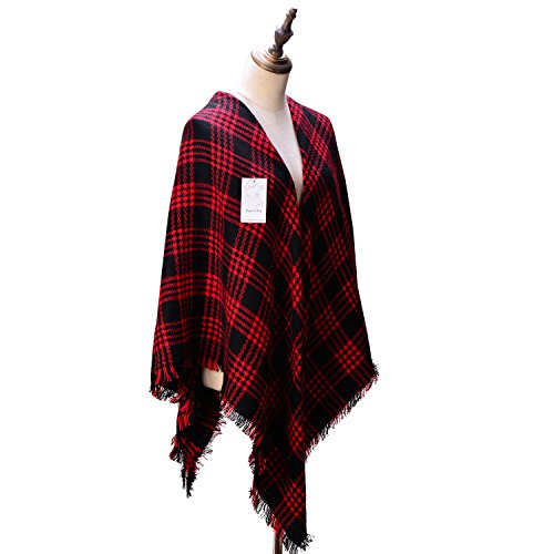 womens-cozy-tartan-blanket-scarf-wrap-shawl-neck-stole-warm-plaid-checked-pashmina-black-red