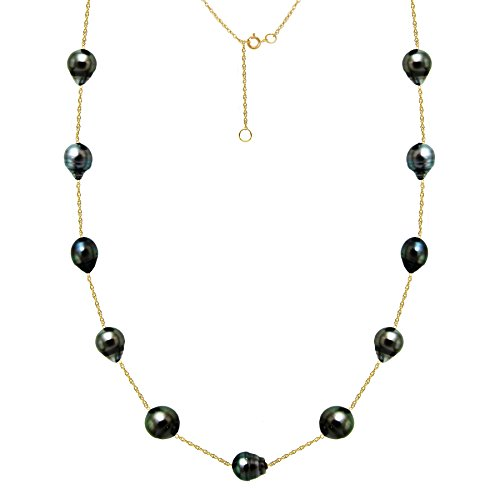 Pearl Cup Tahitian Tin (South Sea Tahitian Cultured Black Pearl Necklace Tin Cup Station Chain Yellow Gold 8-10mm 18 inch)