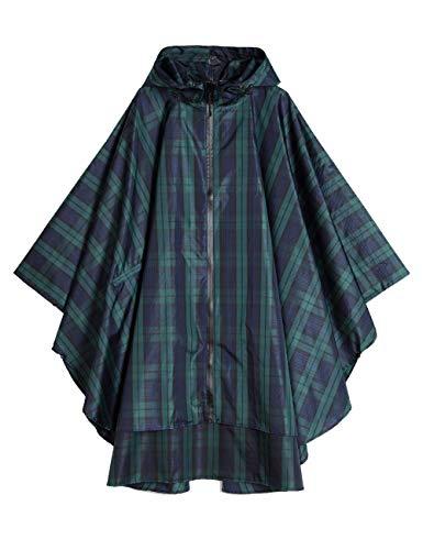 Women's and Big Gril's Waterproof Raincoat Lightweight Packable Rain Coat Poncho Hooded Plaid