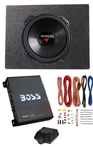 Kenwood 12 Inch 2000W 4 Ohm Subwoofer + Sealed Sub Box + Amplifier & Wire Kit (12 Inch Subwoofers In Box With Amp)