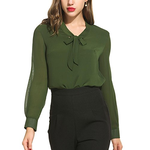 Green Silk Blouse - PEATAO Women's Casual Long Sleeve Solid Shirts V-Neck Tunic Pullover Blouse Top (M,Army Green)