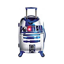Star Wars R2D2 Design Hardside Spinner Carry On Suitcase, Fun Adventurous Galactic Alien Machine Themed, Fashionable, Hardshell, Multi Compartment, Telescoping Handle Travel Bag, Blue, Ivory, Size 21""