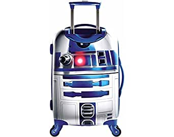 """Star Wars R2D2 Design Hardside Spinner Carry On Suitcase, Fun Adventurous Galactic Alien Machine Themed, Fashionable, Hardshell, Multi Compartment, Telescoping Handle Travel Bag, Blue, Ivory, Size 21"""""""