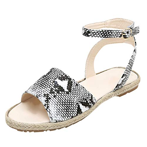 ◕‿◕Watere◕‿◕ Women's Roman Fish Mouth Ankle Strap Buckle Flat Bottom Buckle Woven Breathable Sandals Women's Shoes Gray