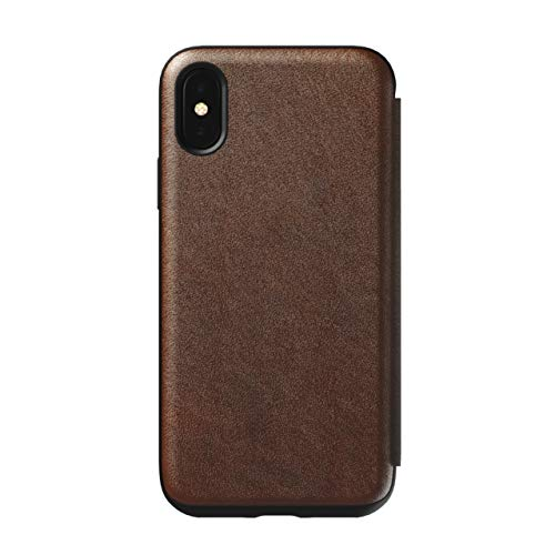 Brown Leather Folio Case - Nomad Folio Leather Case for iPhone X/XS | Rustic Brown
