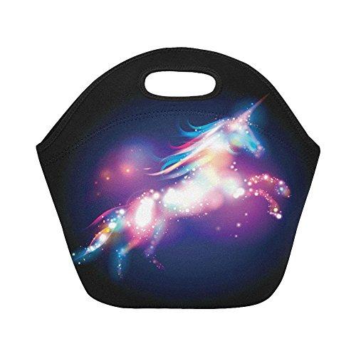 InterestPrint Insulated Lunch Tote Bag Magical Unicorn Horse Stars Reusable Neoprene Cooler, Fantasy Horse Portable Lunchbox Handbag for Men Women Adult Kids Boys Girls