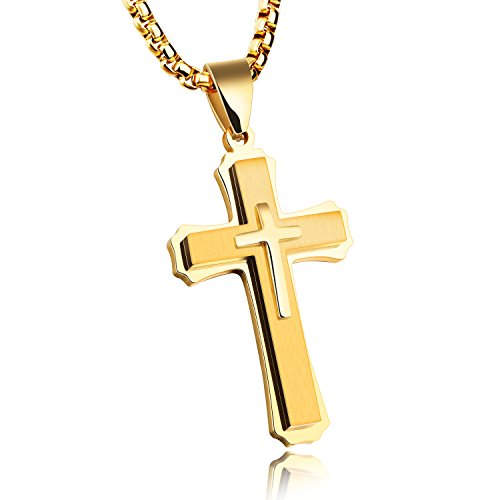 High Polish Prayer Box Charm (Mens Cross Necklace for Men Women Solid 316L Stainless Steel Pendant Necklace High Polish Silver Black Gold (Gold))