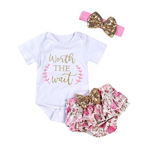 Goodlock Newborn Infant Fashion Clothes Set Baby Girls Letter Floral Romper Shorts Outfits Clothes Set 3Pcs (Size:3M)