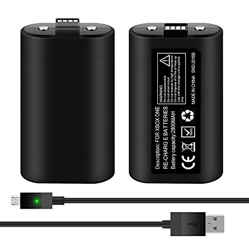 Kycola Xbox One Play and Charge Kit WK15 Xbox One Rechargeable Battery Packs 2800mAh X2 with 2.75M Charge Cable for Xbox One(S) Controller(Black)