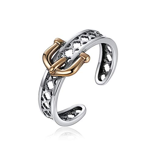 Nofade Silver Vintage Rings Brass & 925 Sterling Silver Ring Open Adjustable Belt Buckle Fashion Ring for Women - Two Toe Tone Yellow Ring