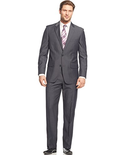 Alfani Men's Regular Fit Solid Suit, Charcoal, 42Rx36W from Alfani