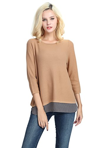 YTUIEKY Women's Sweater, Pullover Autumn Women Top 3/4 Sleeve 2Fer Loose Casual Pullover Layered (3/4 Sleeve Mini Sweater)