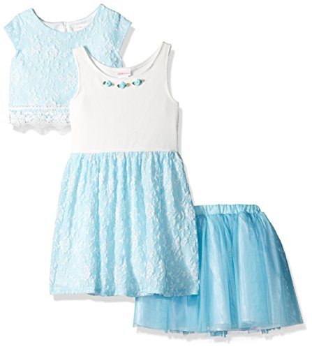 - Youngland Girls' Little 3 Pc Set, Dress, Pop-Over Top, Tutu Skirt, Blue, 2