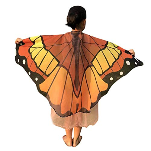 Halloween Butterfly Wings for Kids, Forthery Costume Play Shawl Scarves, perfect for Halloween Costumes(Medium, Orange) for $<!--$2.79-->