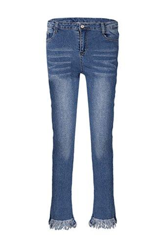 Pantalon Skinny Les blue Streetstyle Pantalon En Jean Pompons Femmes Blanc Fq074
