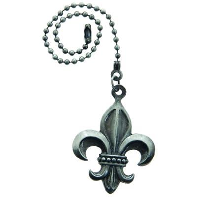Lazart® Fleur-de-Lis Pewter Pull Chain for Ceiling Fans, Lamps & Lighting