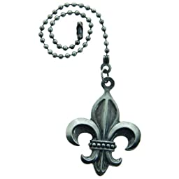 Lazart® Fleur-de-Lis Pewter Pull Chain for Ceiling Fans, Lamps & Lighting