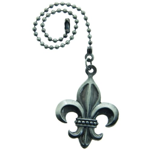 Lazart® Fleur-de-Lis Pewter Pull Chain for Ceiling Fans, Lamps & Lighting from Lazart