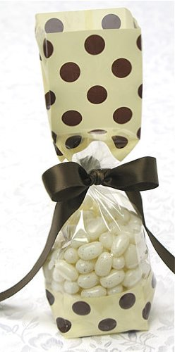 Cream and Brown Polka Dots Tall Cellophane Goodie Bag (2in. W x 9 1/2in. H x 1 7/8in. Deep) - pack of 10