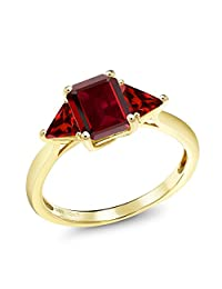 2.63 Ct Octagon Red Garnet 10K Yellow Gold Ring