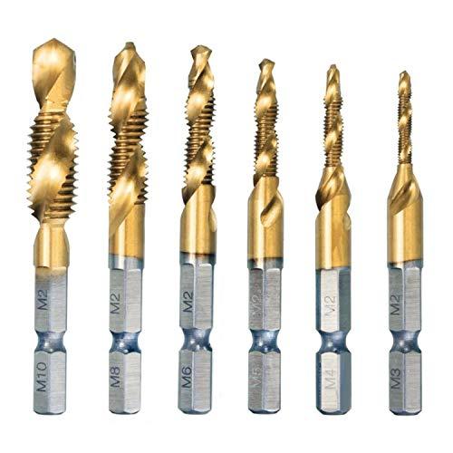 OCGIG 6 PCS HSS 6542 Titanium Coated Drill Bits Hex Shank Spiral Gold Tap M3-M10 Combination Set