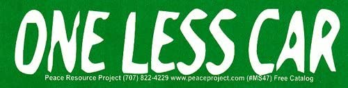 Small Bumper Sticker//Decal One Less Car Peace Resource Project MS047 5.75 x 1.5