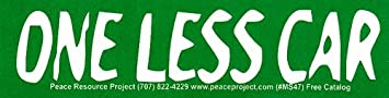 One Less Car Small Bumper Sticker Decal 5 75 X