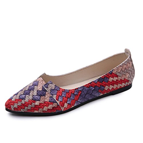 Transer Ladies Shallow Flats Shoes, Women Slip on Comfort Casual Work Loafers Leisure Shoes Red