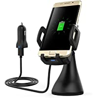 dodocool Qi Wireless Charger Fast Wireless Charging Car Mount for Samsung Galaxy Note 8/ S7/ S7 Edge/ S6 Edge Plus/ Note 5, iPhone 8/ 8 Plus/ X, Nexus 5/ 6 and Other Qi-enabled Devices