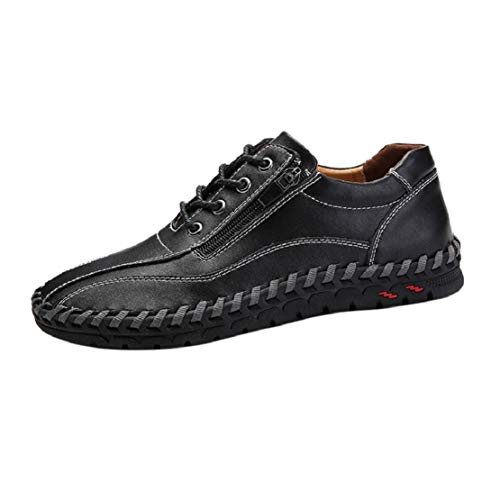 Men's Fashion Stitched Leather Sneakers Driving Oxford Slip On Loafers Side Zipper Comfort Walking Shoes by Lowprofile Black