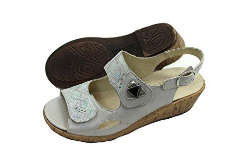 Waldläufer Damen Leder Schuh Sommer Pantolette grau mit Hackenriemen Klett 4,5 / 37 Weite H