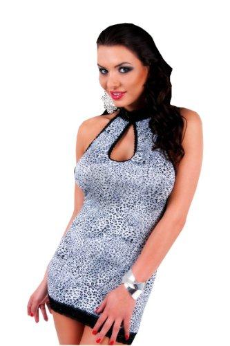 Schwarz String Acanta Weiß inklusive Kleid schwarz Neckholder weißes XAqFwY
