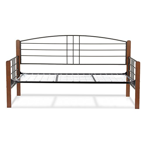 Fashion Bed Group Dayton Complete Metal Daybed with Link Spring Support Frame and Arched Back Panel, Black Grain Finish, Twin