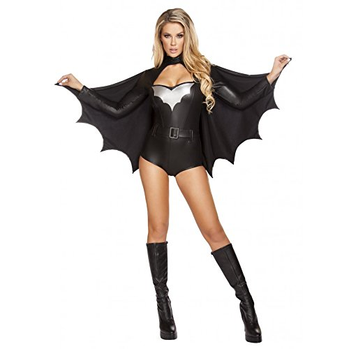 Night Vigilante Costume (Sexy 3pc Women's Batgirl Night Vigilante Costume w/ Winged Cape (L))