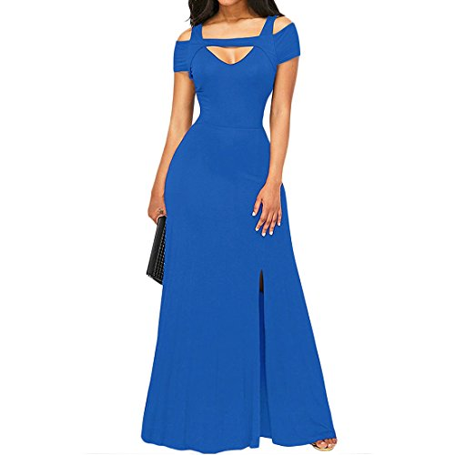 YYF Damen Lange Abendkleid Maxi VAusschnitt Samt Party Kleid Blau ...