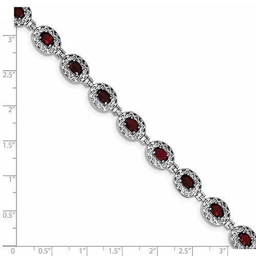 ICE CARATS 925 Sterling Silver Red Garnet Filigree Bracelet 7 Inch Gemstone Fine Jewelry Gift Set For Women Heart by ICE CARATS (Image #5)