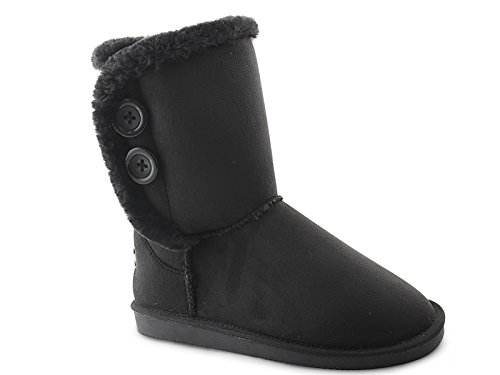 Red Mid Boots Size Fur Flat 3 Rock Lined Fashion Ladies Suede Thermal 932 Faux 8 Calf Black 4wUxq