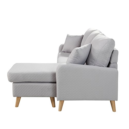 Mid century modern linen fabric small space sectional sofa for Amazon sectional sofa with chaise